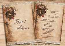 Bridal Shower Key Heart Lock Fall Theme Invitations Printable DIY Jpeg Invites