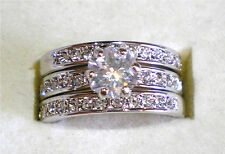 Gorgeous 18KGP Simulated Diamond Wedding Engagement Ring Set Various Size