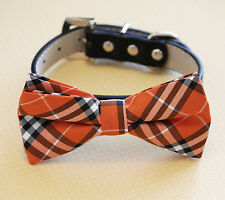 Plaid Orange and Black dog bow tie Collar -Leather- Dog collar, Pet Accessory