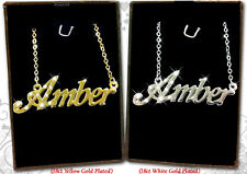 Name Necklace AMBER 18k Gold Plated Personalized Gifts Fashion Jewelry