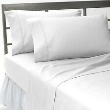 WHITE SOLID 1000TC 100% COTTON FITTED/SHEET SETS SCALA ALL SIZE & DEEP POCKET