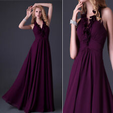2013 Halter Bridesmaid Formal Gown Prom Bridal Party Evening Cocktail Long Dress