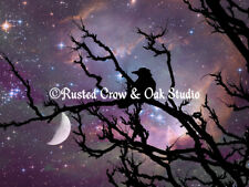 Surreal Black Bird Crow Stars Night Moon Bedroom Art Matted Picture USA A492