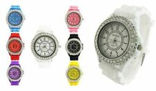 WOMENS BLING CRYSTAL SILICONE SILICON BRACELET WRIST WATCH GIRLS LADIES