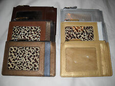 New ILI Leather Zip Coin Pouch Wallet ID Credit Card Holder - 6 Color Variations