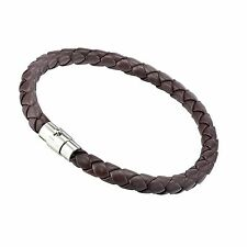 Men Leather Braided Cuff Wristband Bracelets Stainless Steel Color Class GM001