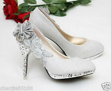 Silver beautiful Vogue lace Flowers Crystal High Heels Wedding Bridal Shoes