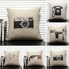 Retro Vintage Antique Home Decorative Cotton Linen Pillow Case Cushion Cover 17""