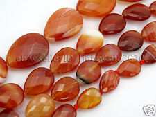 Red Carnelian Natural Agate Gemstone Faceted Flat Teardrop Loose Beads 15''