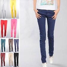 10 Color Womens Stretch Candy Pencil Pants Casual Slim Fit Skinny Jeans Trousers