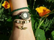 Fashion ladies watch leather band bracelet beads vintage Flying Heart gift Syd