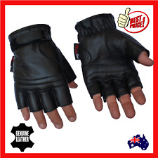 Fingerless Leather Motorcycle Motorbike Gloves Gym Gloves Cycling Biker Cruiser