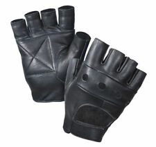 Black Military Biker Gloves Cowhide Leather Fingerless Rothco 3498