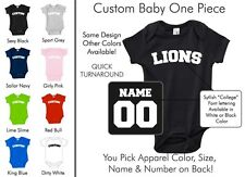 Lions Baby One Piece - Custom Name and Number, Creeper, Onesie
