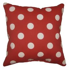 Red and White Polka Dot Outdoor Decorative Throw Pillow