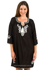 """New Spirituelle """"Gaby"""" Embroided Tunic Free Size Dress or Top – """"Black + Ecru"""""""
