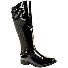 WOMENS BLACK QUILTED BLACK PATENT MULTI BUCKLE SIDE ZIP KNEE HIGH FLAT BOOTS 3-8