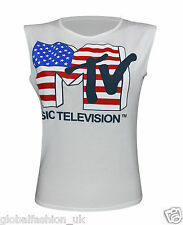 Ladies Womens Girls MTV Television Sleeveless T Shirt Vest Top Casual Wear Tees
