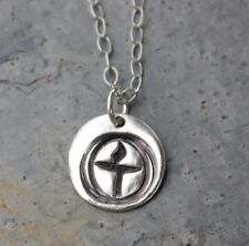 Flame in Chalice Necklace - Unitarian Universalist handmade fine silver charm