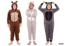 BOYS ANIMAL ONESIE ALL IN ONE SLEEPSUIT NIGHTWEAR FLEECE PYJAMAS NEW 4-9YR