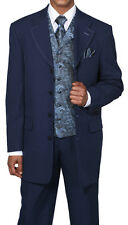 New Mens' 4 Button Fashion Suit (+pants) With Vest+Tie+Hanky 5 PC Navy #6903V