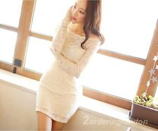 Bridesmaid Wedding / Party / Evening Wear Long Sleeve Medium Length Lace Dress