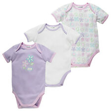 3x BNWT Girls Lavender/White All In One Short Sleeve Body Suits – Size 000, 0,1