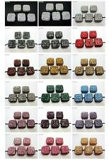 5Pcs Crystal Glass Rhinestones Pave Flat Square Bracelet Connector Charm Beads