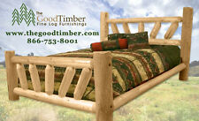 Sunburst Pine Log Bed Only $219 - Ships FREE & FAST-Rustic Cabin Beds, Furniture
