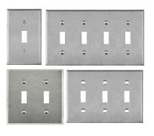 Brushed Stainless Steel Toggle Switch Outlet Cover Metal 1 2 3 4 Gang Wall Plate