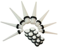 The Rebel Extender Kit ~ White Ear Stretching Taper Kit and Acrylic Plugs 4g-00g