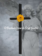 ART PRINT Cross Yellow Rose Surreal Angel Original Signed Matted Picture A282