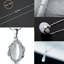 Solid .925 Sterling Silver Opal Necklace Pendants and Silver Chains