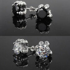 Mens s925 Silver Dragon Paws Stud Earring Artificial Gemstone Diamond E009