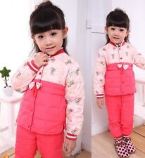 Set of 2 Girls Baby Winter Warm Down Jacket Suits Coat + Ski Pants Outfits 2T-6T