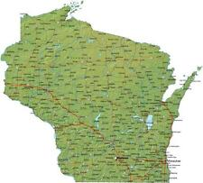 WISCONSIN STATE ROAD MAP GLOSSY POSTER PICTURE PHOTO milwaukee cheese green 601