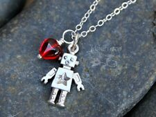 Robot love necklace - tiny matte silver robot and red glass heart charm