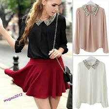 Pretty Lady Vintage Sequin Peter Pan Collar Puff Sleeve Sheer Loose Blouse Tops