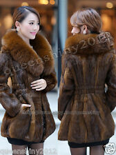 100% Real Genuine Rabbit Fur Coat Fox Fur Collar Outwear Garment Clothing Women