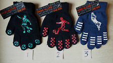 BOYS FOOTBALL MOTIF BLACK GRIPPER MAGIC GLOVES KIDS ONE SIZE STRETCH