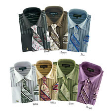Men's Classic George Dress Shirt with Matching Tie and Handkerchief AH601