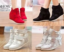 2013 New Ankle High Top Women's Velcro Lace UP Wedge Hidden Heels Sneakers Shoes