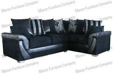 Lush Corner Sofa Black Jumbo Cord and Black Faux Leather Left or Right