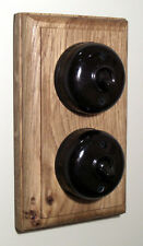 Two Bakelite Period Light Switches Double Oak Pattress