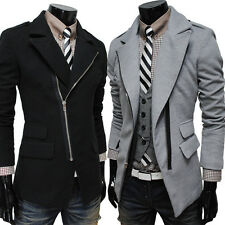 Men's Korea Tide Lapel Thermal Irregular Tweed Parka Coat Slim Fit Woolen Jacket