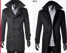 HOT Men's Wool Coat Winter Trench Coat Outear Overcoat Long Jacket SIZE: M-XXXL