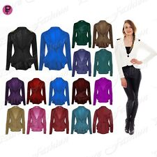 Womens Spikes Peplum Ladies One Button Long Sleeves New Jacket Coat Blazer Top