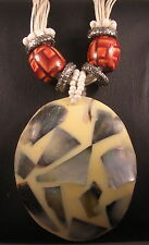 Victorian Style Oval Shell in Resin on Coconut Pendant multi-strand Necklace