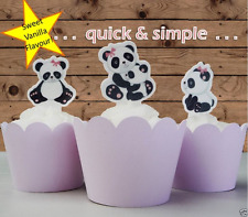 edible baby Panda Cupcake or Cake Toppers Birthday baby shower hen night PRE-CUT