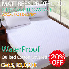 Fitted Quilted/Towelled Cotton Waterproof Mattress/Pillow Protector Aus Size
